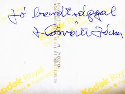Horváth István dedikációja a fenti kép hátoldalán