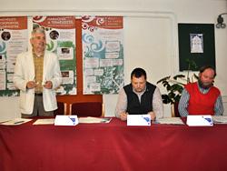 A beharangozó sajtótájékoztatón a szervező intézmények képviselői: Horzsa Gábor (PKK, igazgató), Závoczky Szabolcs (DDNPI, igazgató), Tillai Gábor (JPM, történész, kulturális menedzser)