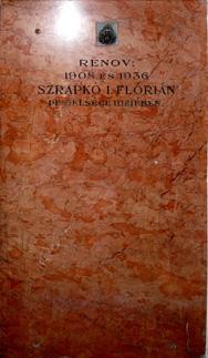 Sztrapko I. Flórián perejel emléktáblája a templom falán