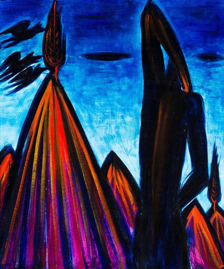 Kék hegyi Venus évszám nélkül, hullámpapír; olaj, magántulajdon