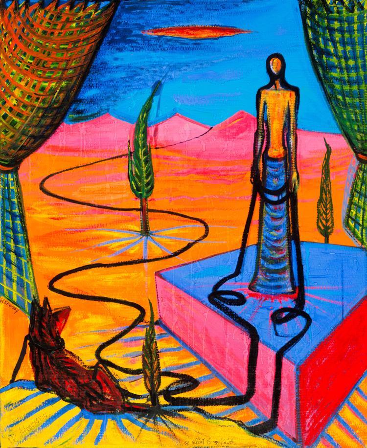 Nyaraló I. (Pihenő párka VI.) 1992, hullámpapír; olaj, tempera, Szalóky-gyűjtemény