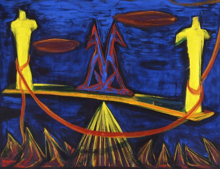Vándorállat a libikókán 1994 - farost, olaj - Hunya Gábor gyűjteménye