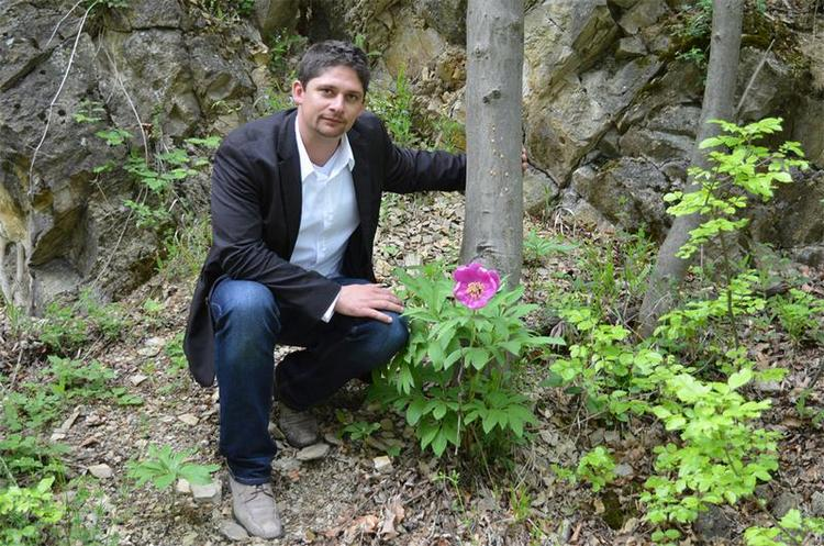 Tóth Péter Lóránt a Zengőn, virágzó bánáti bazsarózsa mellett
