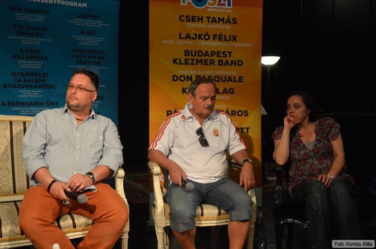 Szakmai beszélgetés: Piszkavas: László Csaba (Pato), Vincze János (rendező), Bacsó Tünde (Maureen) (június 14.)